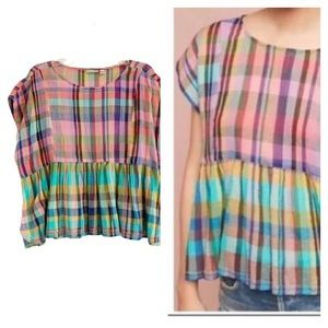ANTHROPOLOGIE HOLDING HORSES Plaid Baby Doll Top